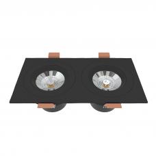 Встраиваемый светильник двойной черный поворотный 175*90мм