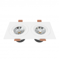 Встраиваемый светильник двойной белый поворотный 175*90мм