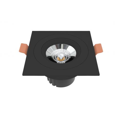 Встраиваемый светильник квадратный черный поворотный 95*95мм